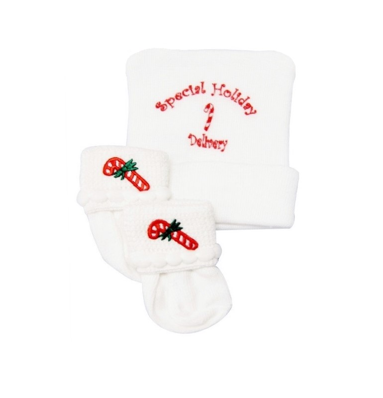 Special Holiday Delivery Newborn Baby Hospital Hat & Sock Set