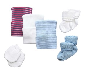 Newborn Baby Hospital Hat Set with Matching Socks & Mittens