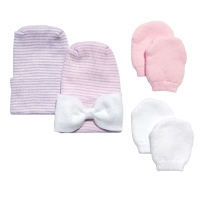 Newborn Baby 2 Pack Purple & Pink Bow Hat Set with 2 Pairs of Mittens