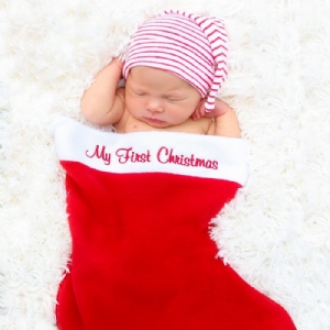"Embroidered Stocking with ""My First Christmas"" or ""Happy Holidays"""